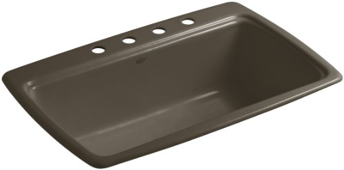 KOHLER K-5863-4-20 Cape Dory 33-Inch x 22-Inch Top-Mount Single-Bowl Kitchen Sink with 4 Faucet Holes, Suede (Cast Dory Iron Single Bowl)