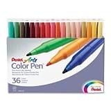 Color Pen Set, Water-based, Fiber Tip, 24/ST, Assorted, Sold as 1 Set, 24 Each per Set