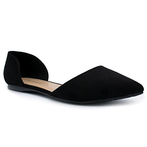Breckelles Dames Faux Lederen Dorsay Puntschoen Flats Zwart Su Ts