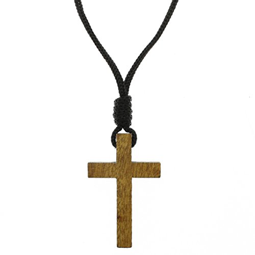 (Intercession Wood Cross Crucifix on Cord - Made in Brazil (2)