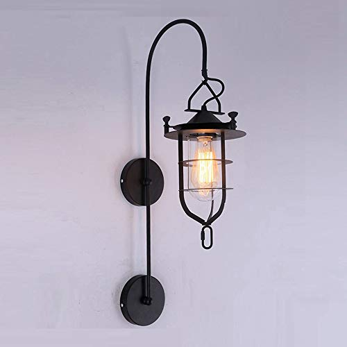 NIUYAO Vintage Wall Sconce Industrial Glass Sconces Country Style Loft Lantern Wall Light Fixture Lights with Glass Shade & Black Metal Finished
