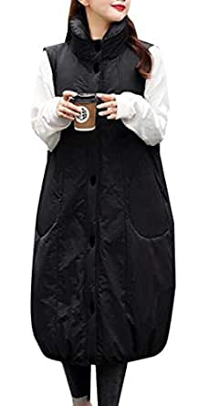 Womens Cotton Padded Lapel Collar Thickened Outwear Long Down Puffer Vest Jackets Black S