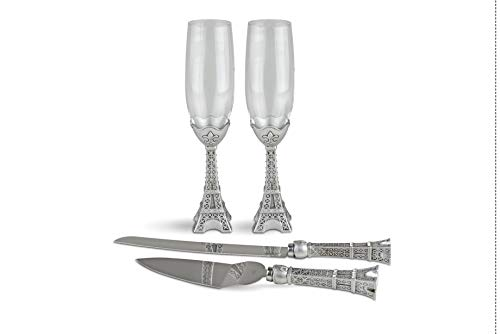 Fashioncraft Eiffel Tower Toasting Flutes and Cake Knife Server Set - Hand Painted Champagne Glasses and Cake Serving Set with Rhinestone Embellishments for Wedding, Anniversary and Paris Themed Party (Hand Champagne Painted Flutes)