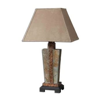 Gorgeous STONE And COPPER Table LAMP Indoor Outdoor Patio