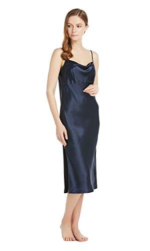 LILYSILK Camisón Mujer de Seda Estilo Elegante - 100% Seda de Mora Natural 22 Mommme, Super Cómoda y Transpirable - Vestido de Seda Tirantes Ajustables Azul Marino