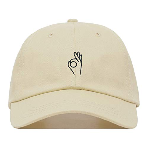 A-Ok Hand Dad Hat, Embroidered Baseball Cap, 100% Cotton, Unstructured Low Profile, Adjustable Strap Back, 6 Panel, One Size Fits Most (Multiple Colors) (Beige)