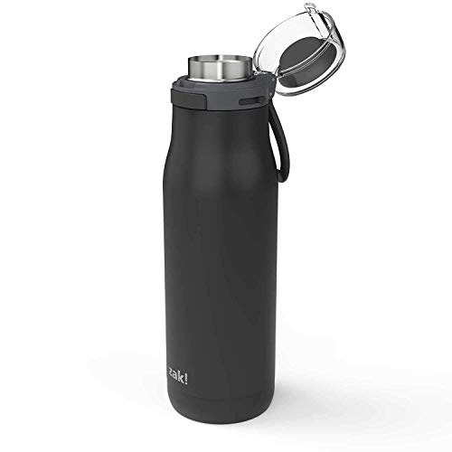 (Zak Designs Kiona Double Wall Vacuum Insulated Stainless Steel Water Bottle with Push Button Action and Locking Lid, Includes Portable Carry Loop and Leak-Proof Design (20oz, Charcoal, 18/8, BPA Free))
