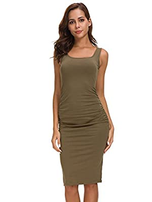 Missufe Women's Sleeveless Ruched Casual Midi Bodycon Tank Dress