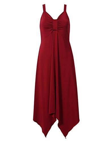 Yesfashion femmes robe asym¨¦trique bretelle noue bandeau sans manches fine bretelle robe bordeaux L