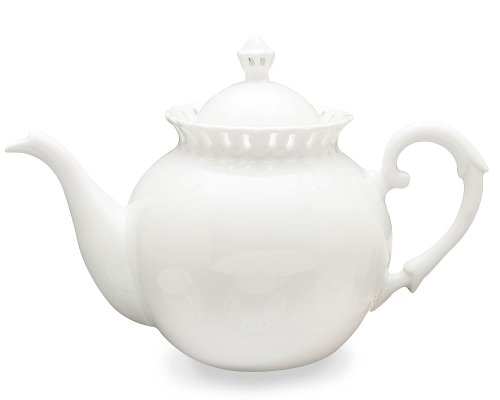 Gracie China, Heirloom Collection, 32-Ounce Teapot, White Fine Pierced Porcelain