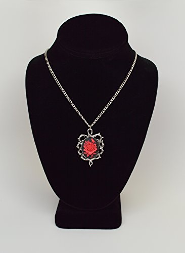 Gothic Red Rose Cameo In Thorns Cosplay Pendant Necklace DxB5uUi