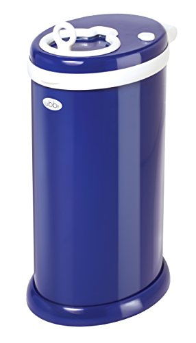 Ubbi Money Saving, No Special Bag Required, Steel Odor Locking Diaper Pail, Navy