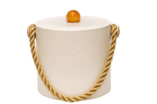 Mr. Ice Bucket Nautical Collection - 3 Quart Double-Walled Insulated Bucket with Lid - Keeps Ice Frozen for up to 4 Hours - Great for Wet Bar, Boat, Kitchen - Made in USA (White Debossed Anchor)