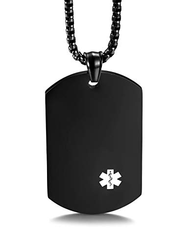 (JF.MED Black Gold-Plated Stainless Steel Medical Alert ID Necklace for Men Women 24 inch Free Engraving)