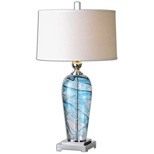 (Uttermost 26137-1 Andreas Contemporary Blue and Clear Swirled Blown Glass Table Lamp)