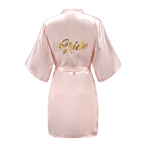 EPLAZA Women's One Size Bride Bridesmaid Short Satin Robes with Gold Glitter for Wedding Party Getting Ready (Pink, Bride)
