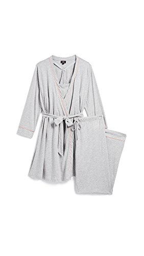 Cosabella Set - Cosabella Women's Bella Maternity 3-Piece Pajama Set, Heather Grey/Mauvelous, Small