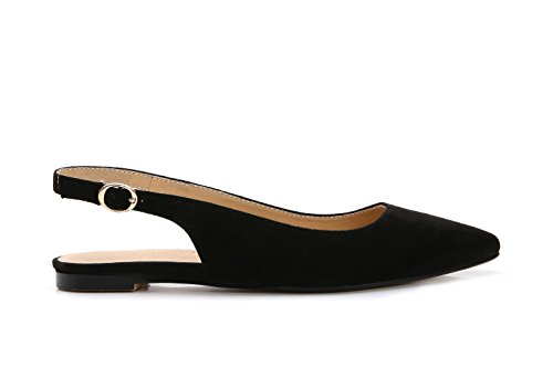 ComeShun Black Womens Comfort Low Flat Sandals Adjustable Buckle Slip On Dress Pumps Suede Shoes Size 10 by ComeShun (Image #2)