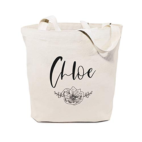 The Cotton & Canvas Co. Personalized Name Modern Floral Beach, Shopping and Travel Reusable Shoulder Tote and Handbag