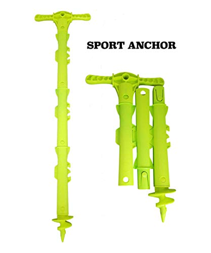 SandShark New Sport Sand Shallow Water Beach Anchor Boats, Pontoons, PWC, Kayak. Patent Pending Design. Snaps Together, Easy Storage, Easy to Use. 4' Tall. (Sport Anchor) (Best Anchor For Sand)