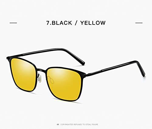 Gafas Sol Pilotos UV Negro 400 De Los Polarizados Etc yellow Estilo Hombres Clásico Oro El De Protege Black SqR0n5Sxr