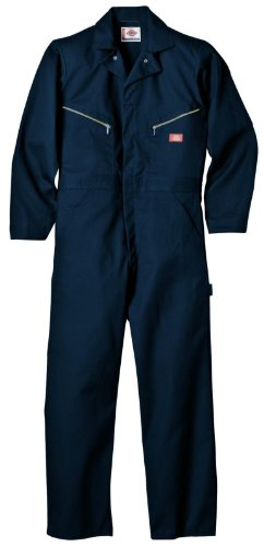 (Dickies Men's 7 1/2 Ounce Twill Deluxe Long Sleeve Coverall, Dark Navy, Large Regular)