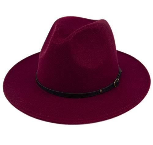 Lanzom Womens Classic Wide Brim Floppy Panama Hat Belt Buckle Wool Fedora Hat (One Size, Wine Red)