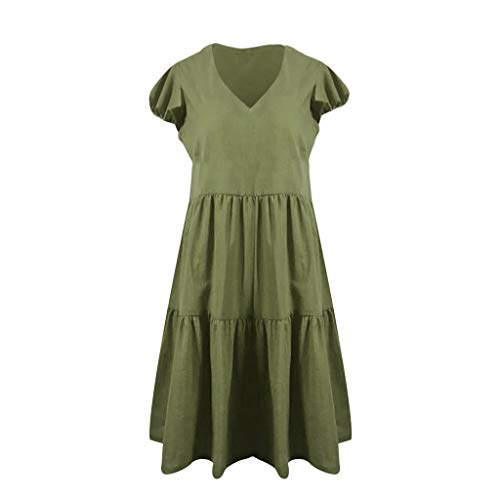 (Qingell Women's Cotton Dress Solid Color Ruffle Sleeve Shift Dress Summer Casual T Shirt Short Swing Dress (S, Green) )