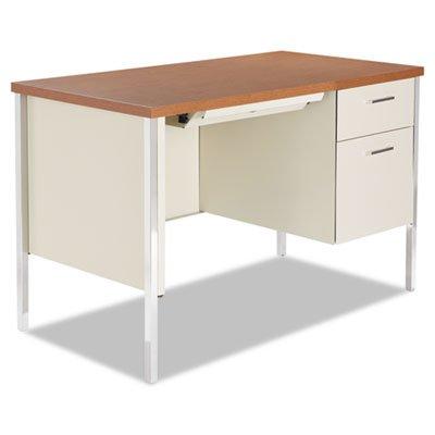 Alera SD4524PC Single Pedestal Steel Desk, Metal Desk, 45-1/4 by 24 by 29-1/2-Inch, Cherry/Putty