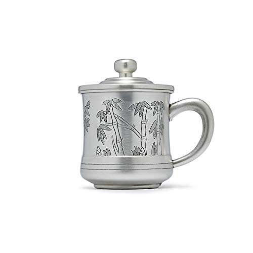 Chinese Mug, 999 Sterling Silver Collectible Crafts, Christmas Gifts, Vintage Sterling Silver Handmade Wine Glasses, Office Water Cup With Handle Lid-Silver