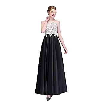 SSYFashion Black Satin Evening Dress for Women Lace Appliques Formal Party Gown
