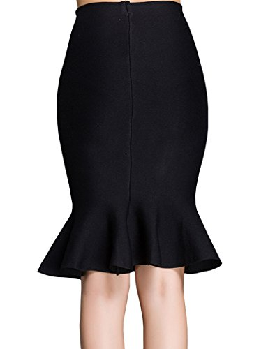 teerfu womens ol mermaid pencil skirt bandage knee length