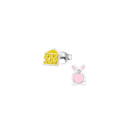 Girls Mouse And Cheese Colorful Ear Studs 925 Sterling Silver ()