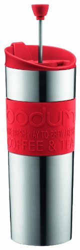 (Bodum Double-Wall Stainless Steel Travel Coffee and Tea Press with Bonus Lid, 0.45L, 16oz, Red)