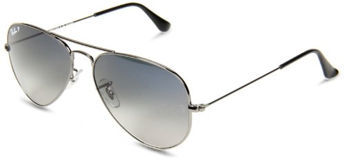 Ray-Ban RB3025 Aviator Polarized Sunglasses, Gunmetal/Polarized Blue Gradient, 62 mm