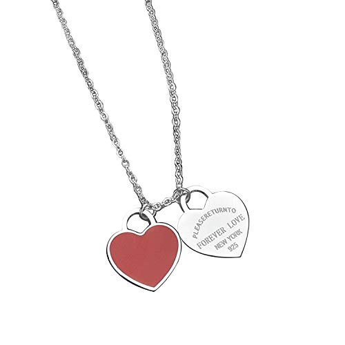 Designer Inspired Silver Titanium Steel Forever Love Double Heart Pendant (Red ()