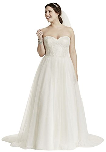 Soft Tulle Lace Corset Plus Size Wedding Dress Style 9WG3633 – 16 Plus, Ivory