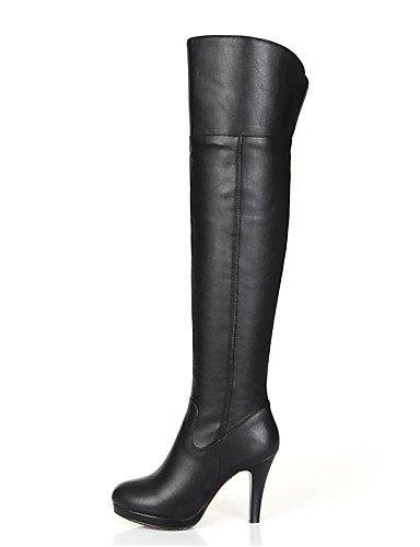 Vestido Xzz Mujer Uk6 Black Tacón De Negro us8 us6 Moda Tacones Cn36 Cuero A Cn39 Zapatos Eu36 Eu39 La Uk4 Casual Stiletto Botas Black TfrTxEvwq