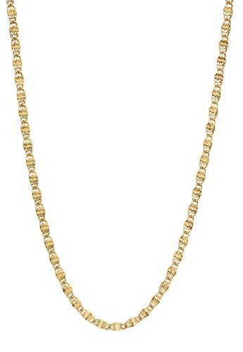 Venetian Link Chain (The Bling Factory 3mm 25 mills 14k Gold Plated Venetian Link Chain Necklace, 20 inches)