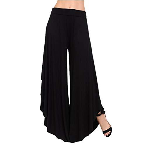 Pantalon Bringbring Fluides Jupe Noir Pant Irrgulier Jambes Long Femme Large UHwBqq