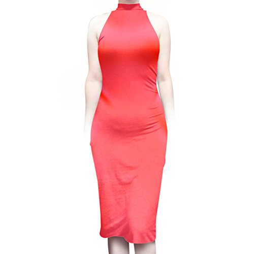 (ShopMyTrend SMT Women's Sleeveless Sexy High Neck Bodycon Midi Casual Work Office Dress Highlight Neon Pink (L))