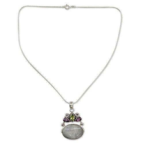 Amethyst Cabochon Pendant - NOVICA Multi-Gem Rainbow Moonstone .925 Sterling Silver Pendant Necklace, 15.75