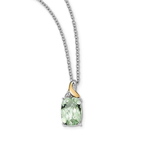 925 Sterling Silver 14k Green Quartz Diamond Chain Necklace Pendant Charm Gemstone Fine Jewelry For Women Gift Set