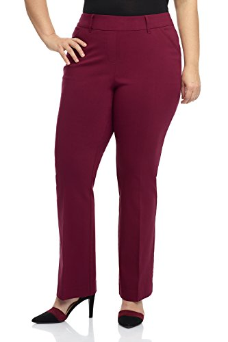 - Rekucci Curvy Woman Ease in to Comfort Fit Barely Bootcut Plus Size Pant (18W,Burgundy)