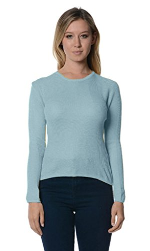 Bloom Women's Cashmere Silk Blend Crew Neck Ribbed Sweater Pullover (Cashmere Silk Blend)