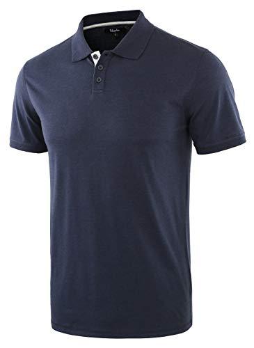 Estepoba Men's Casual Athletic Regular Fit Short Sleeve Jersey Polo Sport Shirt Navy/H.Oatmeal M