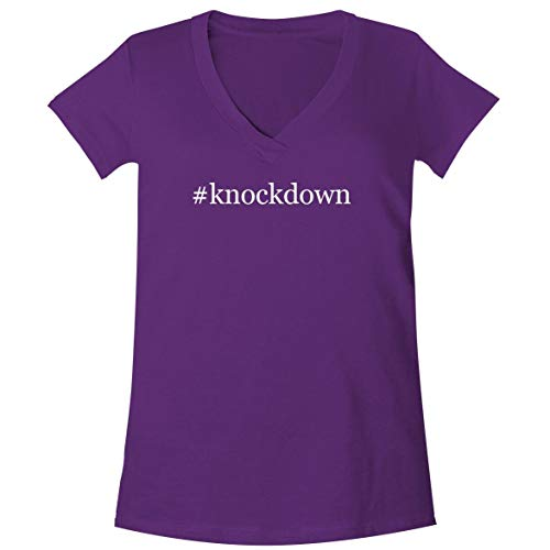 - #Knockdown - A Soft & Comfortable Women's V-Neck T-Shirt, Purple, Small