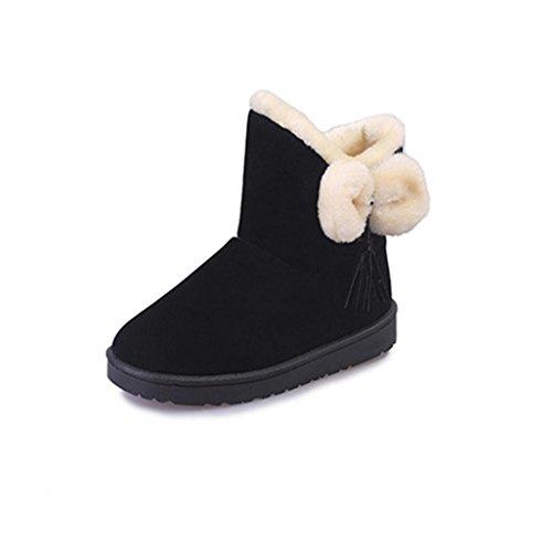 Tenworld Women Girls Cute Bowknot Flats Shoes Winter Snow Boots (5.5, Black) (Roller Girl Outfit)