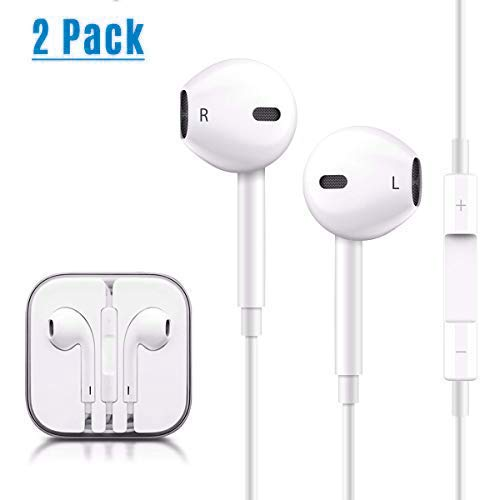 2 Pack Earphones/Headphones/Earbuds, HAOMUK 3.5 mm Earphones HD Sound Bass with Mic and Switch Song Control for iPhone 6s/6 Plus/5s/5c/5/4s/SE iPad/iPod 7 Samsung Galaxy/Note and Android Smartphones