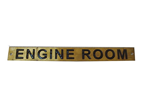 Brass Blessing ENGINE ROOM – Marine BRASS Door Sign - Boat/Nautical - 9 x 1 Inches ()
